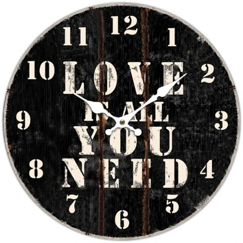 Love Is All You Need 66413 - Large Rustic Retro Kitchen Wall Clock 34cm